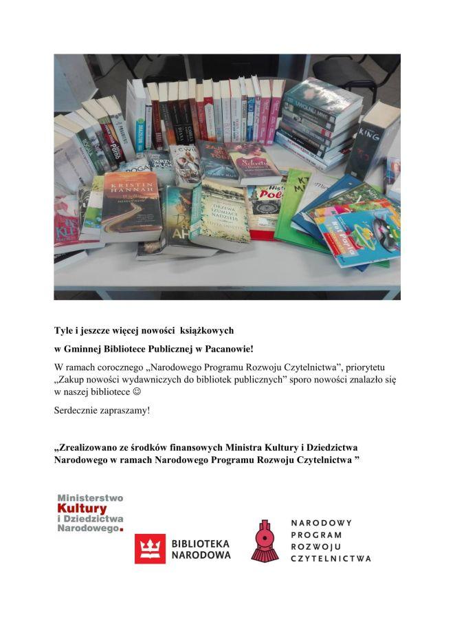 Tyle i jeszcze więcej nowości książkowych w Gminnej Bibliotece Publicznej w Pacanowie